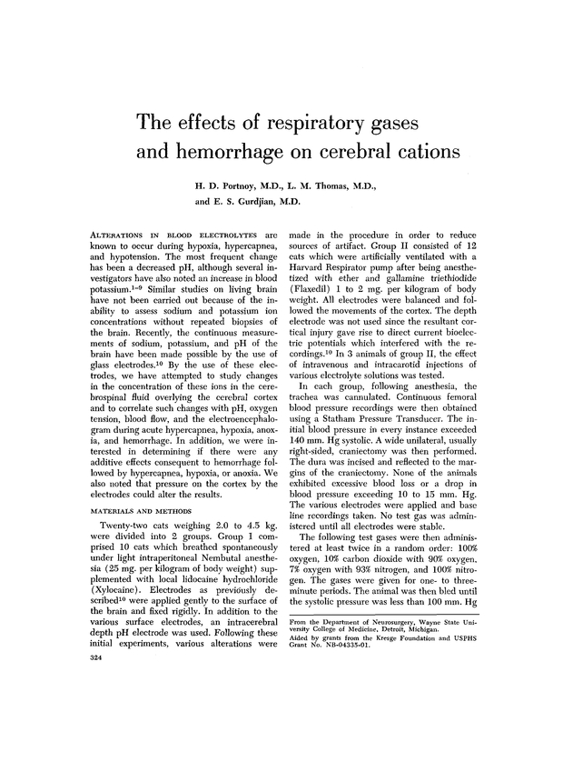 The Effects Of Respiratory Gases And Hemorrhage On Cerebral Cations