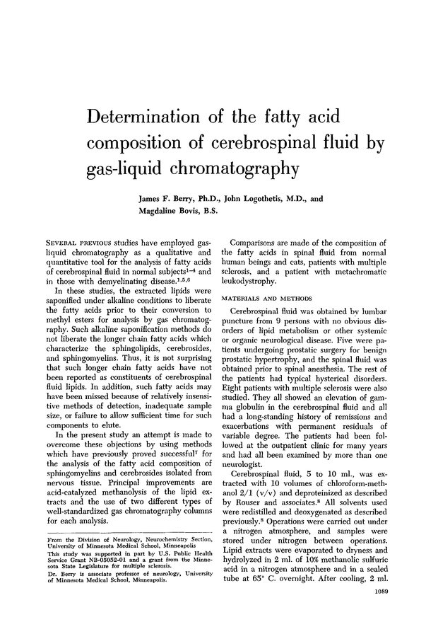 Determination of the fatty acid composition of cerebrospinal