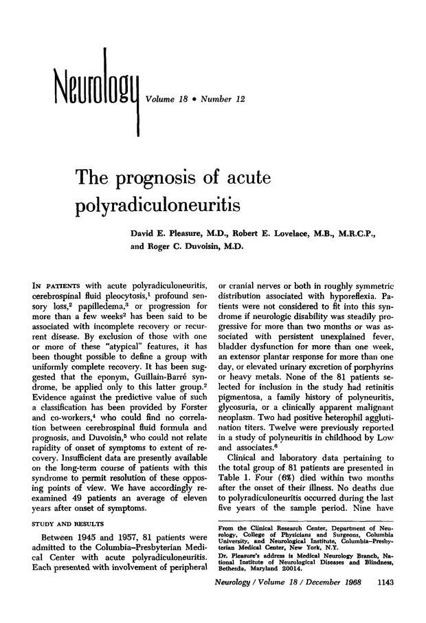 The prognosis of acute polyradiculoneuritis | Neurology