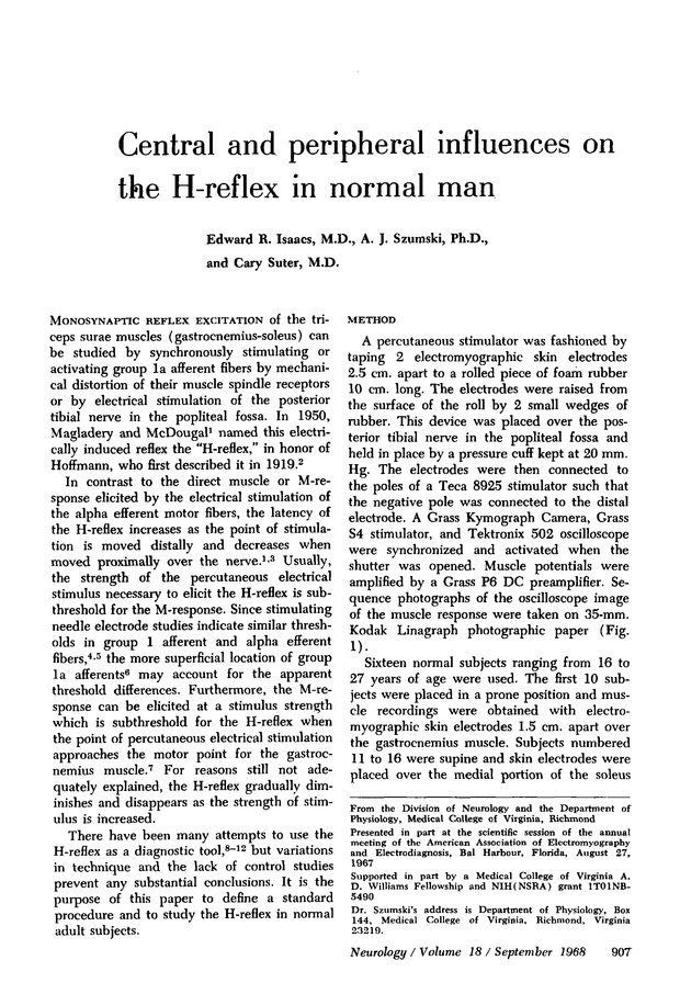 Central and peripheral influences on the H‐reflex in normal man