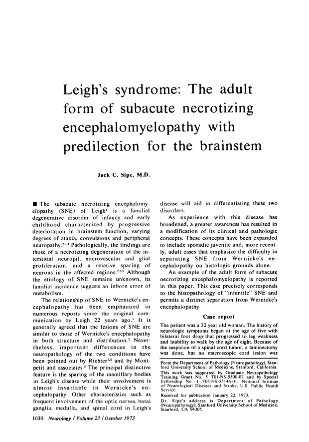 Leigh's syndrome | Neurology