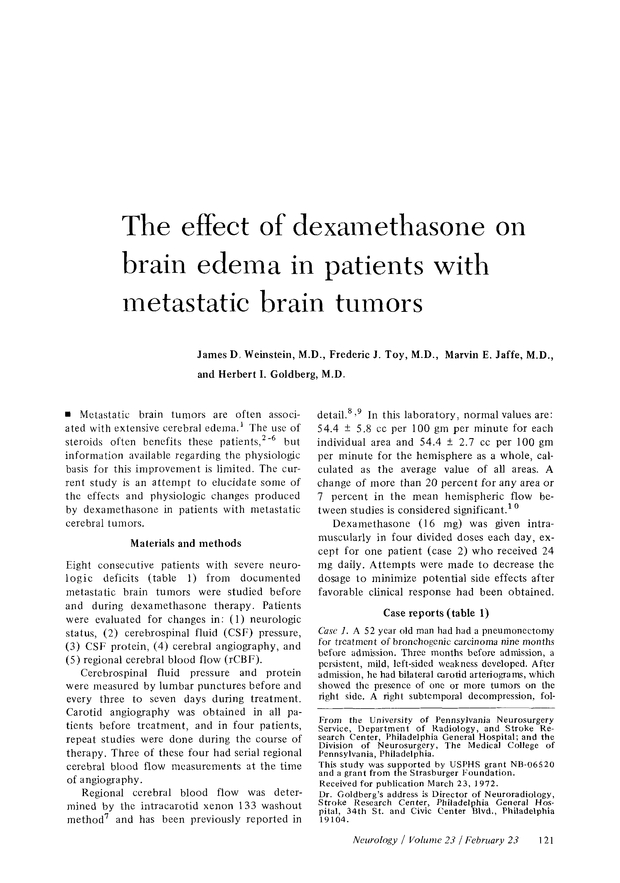 The effect of dexamethasone on brain edema in patients with