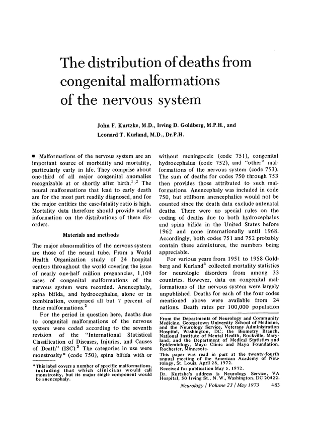 The distribution of deaths from congenital malformations of the ...