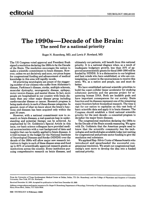 The 1990s—Decade of the Brain | Neurology