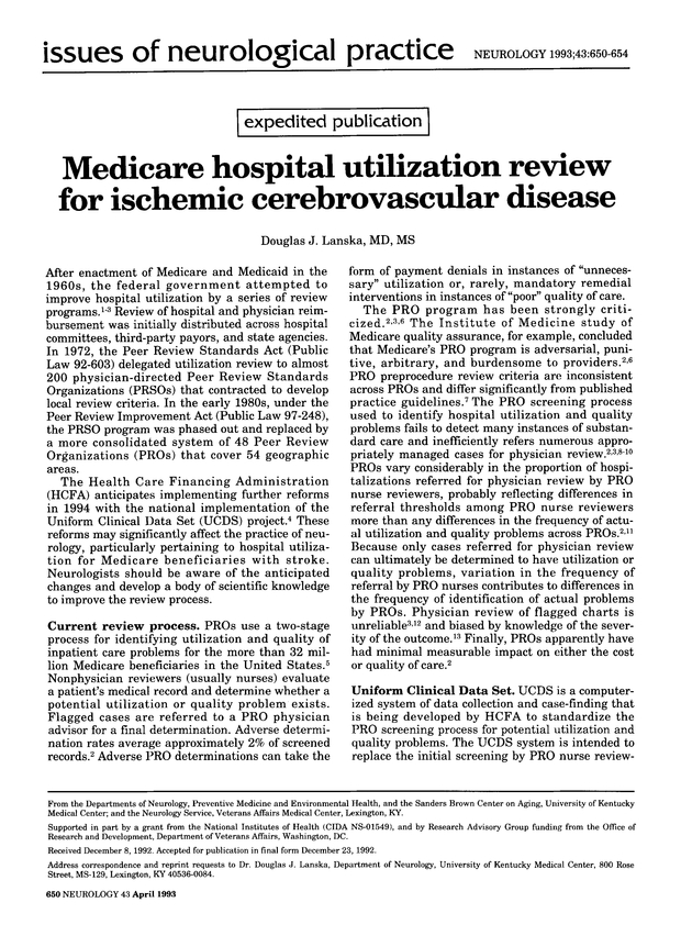 Medicare hospital utilization review for ischemic cerebrovascular ...