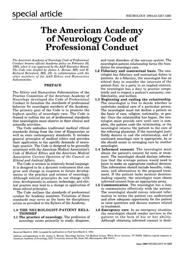 The American Academy of Neurology Code of Professional Conduct