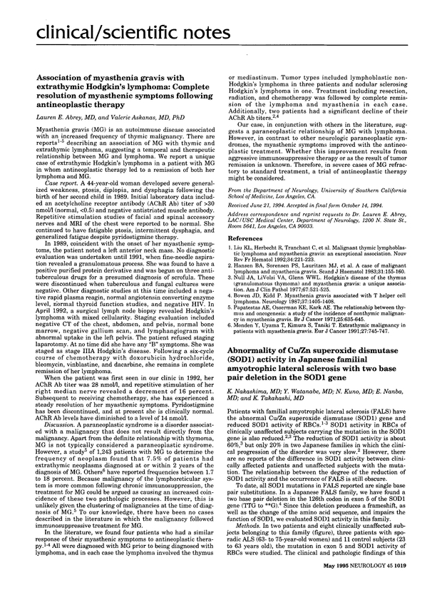 Association of myasthenia gravis with extrathymic Hodgkin's