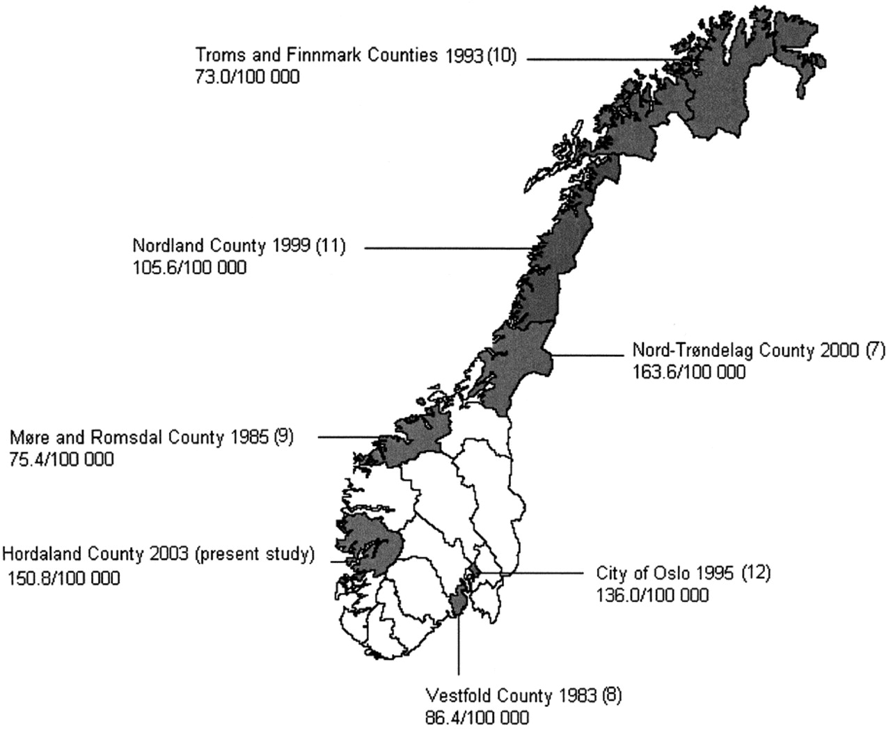 A Year Followup Of The Incidence Of Multiple Sclerosis In - Norway map counties